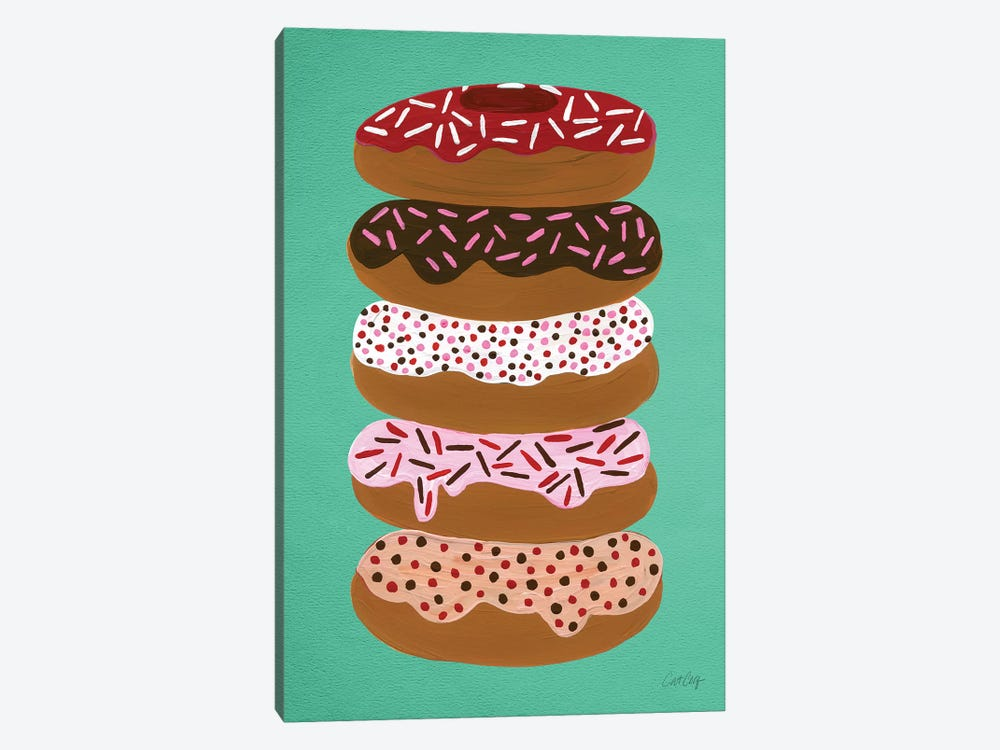 Donuts Stacked Mint Artprint by Cat Coquillette 1-piece Canvas Print