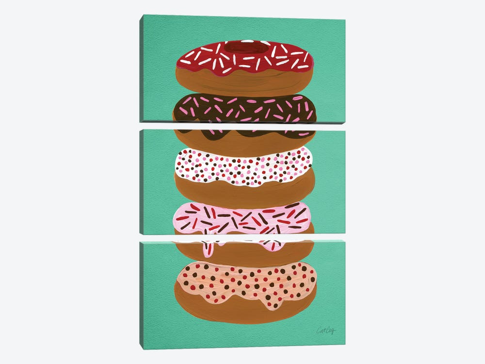 Donuts Stacked Mint by Cat Coquillette 3-piece Canvas Art Print