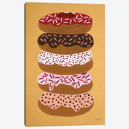 Donuts Stacked Yellow Artprint Canvas Print #CCE161} by Cat Coquillette Canvas Artwork