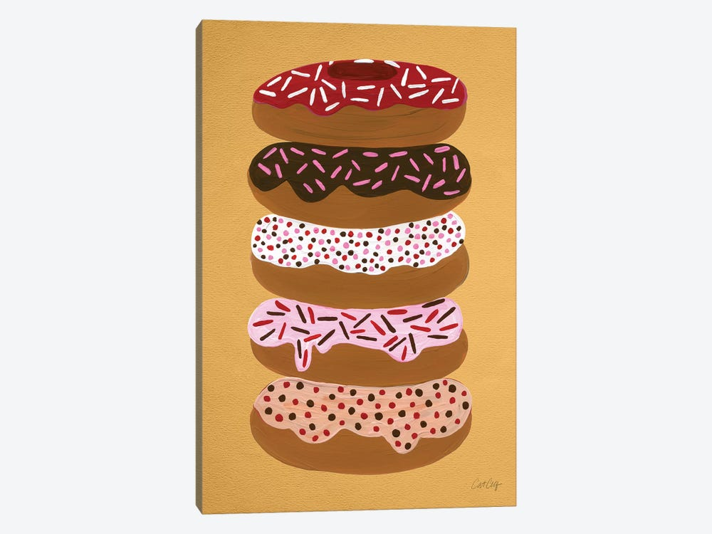 Donuts Stacked Yellow by Cat Coquillette 1-piece Canvas Art