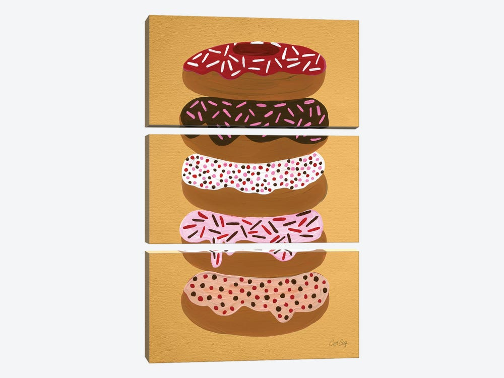 Donuts Stacked Yellow by Cat Coquillette 3-piece Canvas Wall Art