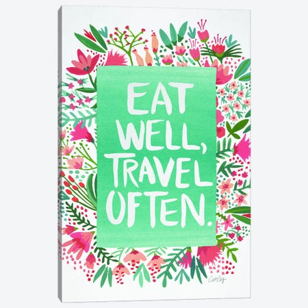 Eat Travel White Artprint Canvas Print #CCE163} by Cat Coquillette Canvas Wall Art