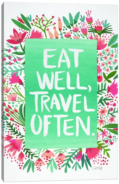 Eat Travel White Artprint Canvas Print #CCE163