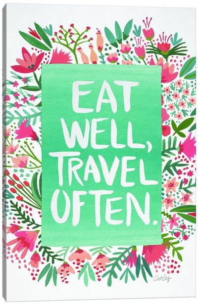 Eat Travel White Canvas Art Print