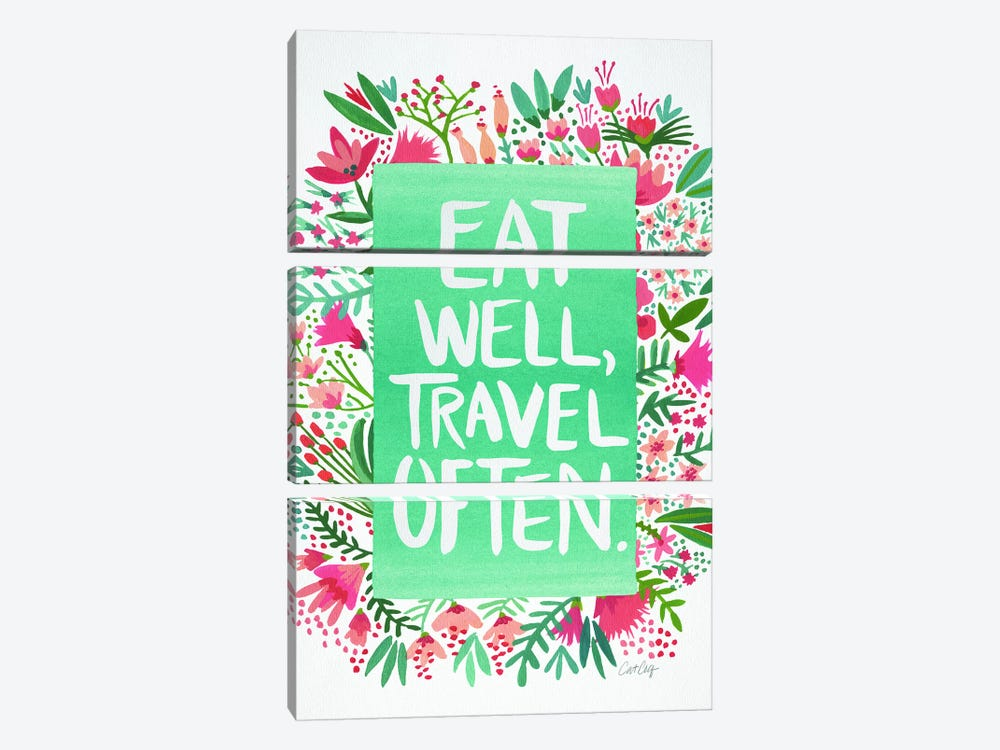 Eat Travel White by Cat Coquillette 3-piece Canvas Art