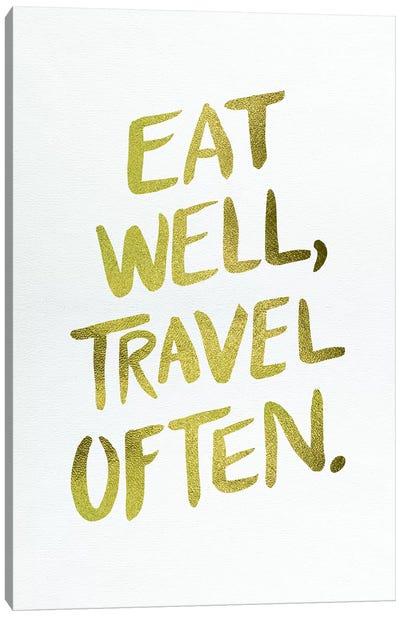 Eat Well Type Gold Artprint Canvas Print #CCE165
