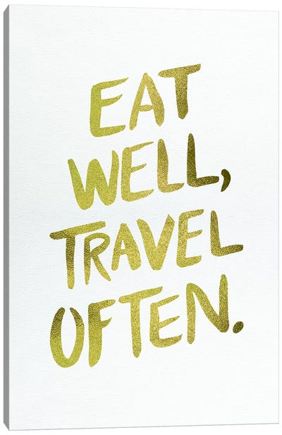Eat Well Type Gold Canvas Art Print
