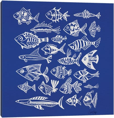 Fish Inkings Blue Artprint Canvas Print #CCE176