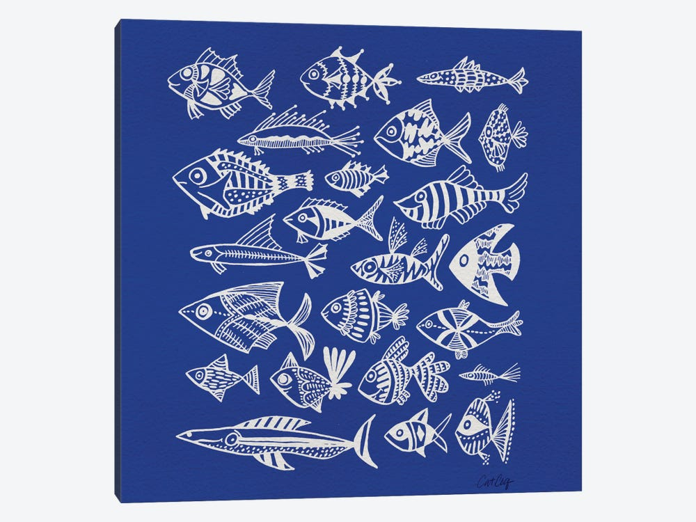 Fish Inkings Blue Artprint by Cat Coquillette 1-piece Canvas Art