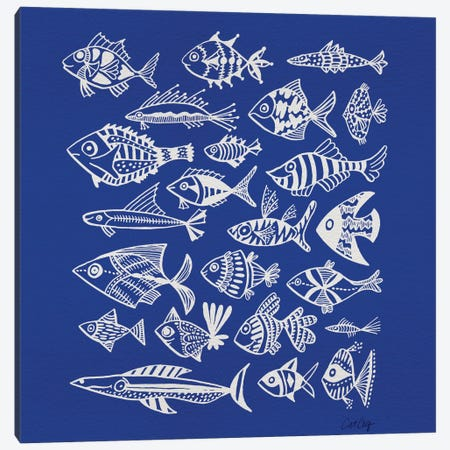 Fish Inkings Blue 3-Piece Canvas #CCE176} by Cat Coquillette Canvas Wall Art