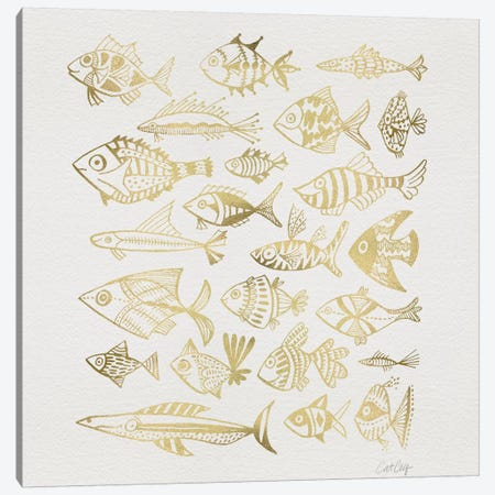 Fish Inkings Gold Canvas Print #CCE177} by Cat Coquillette Canvas Art