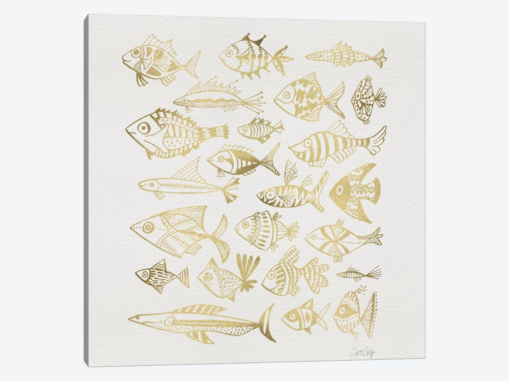 Fish Inkings Gold Artprint by Cat Coquillette 1-piece Canvas Art Print