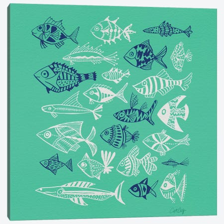 Fish Inkings Green Navy White Artprint Canvas Print #CCE178} by Cat Coquillette Canvas Art Print