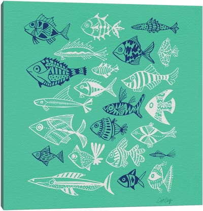 Fish Inkings Green Navy White Artprint Canvas Print #CCE178