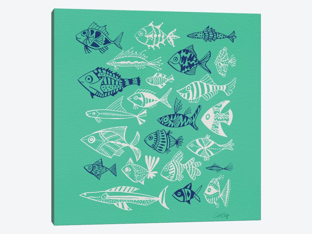 Fish Inkings Green Navy White Artprint by Cat Coquillette 1-piece Canvas Art