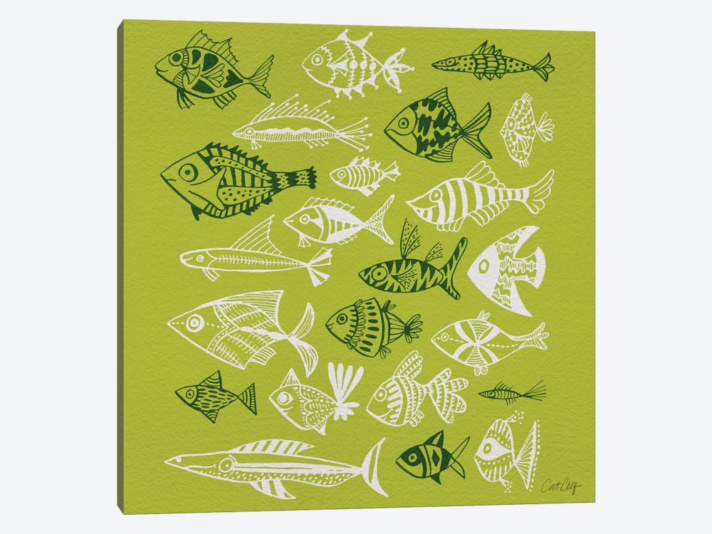 Fish Inkings Lime Artprint by Cat Coquillette 1-piece Canvas Art Print