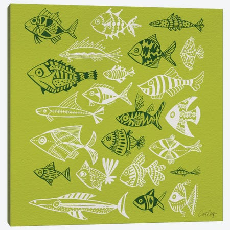 Fish Inkings Lime Canvas Print #CCE179} by Cat Coquillette Canvas Art Print