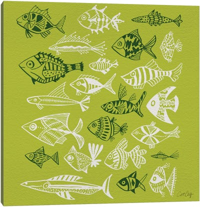 Fish Inkings Lime Canvas Art Print