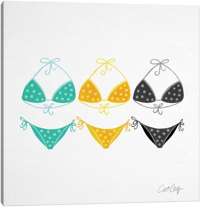 Bikini Yellow Green Artprint Canvas Print #CCE17