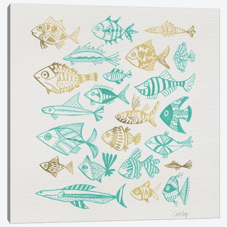 Fish Inkings Turquoise Gold Artprint Canvas Print #CCE185} by Cat Coquillette Canvas Art Print