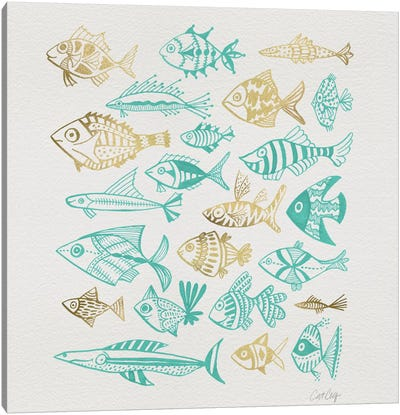 Fish Inkings Turquoise Gold Artprint Canvas Art Print