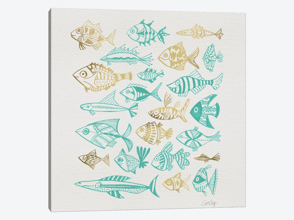 Fish Inkings Turquoise Gold Artprint by Cat Coquillette 1-piece Canvas Wall Art