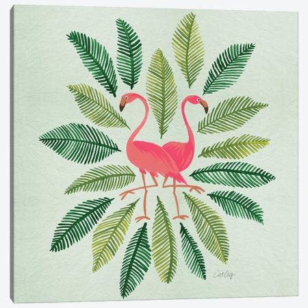 Flamingos Green Canvas Print #CCE186} by Cat Coquillette Canvas Art Print