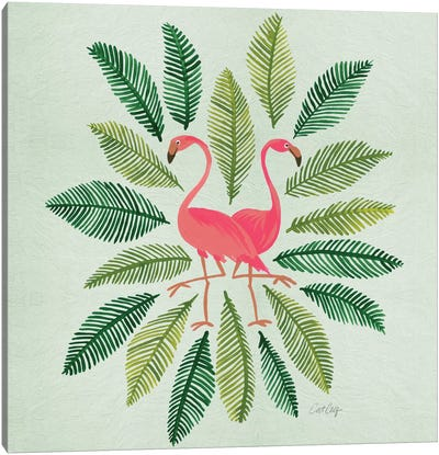 Flamingos Green Canvas Art Print