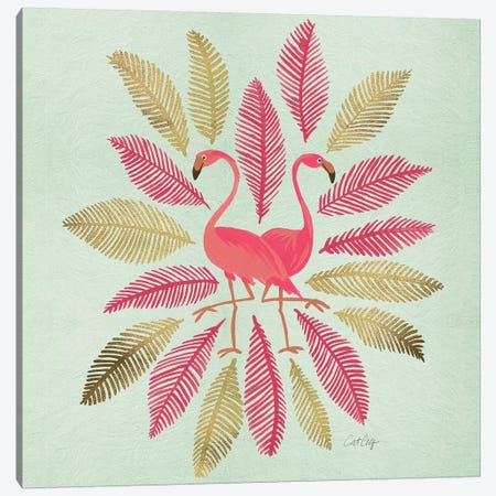 Flamingos Pink Gold Artprint Canvas Print #CCE187} by Cat Coquillette Canvas Print