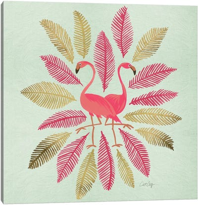 Flamingos Pink Gold Canvas Art Print
