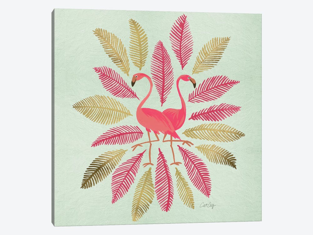 Flamingos Pink Gold Artprint by Cat Coquillette 1-piece Canvas Artwork