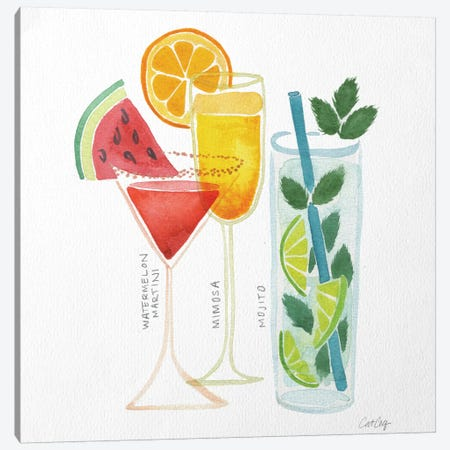 Summer Drinks Artprint Canvas Print #CCE18} by Cat Coquillette Art Print