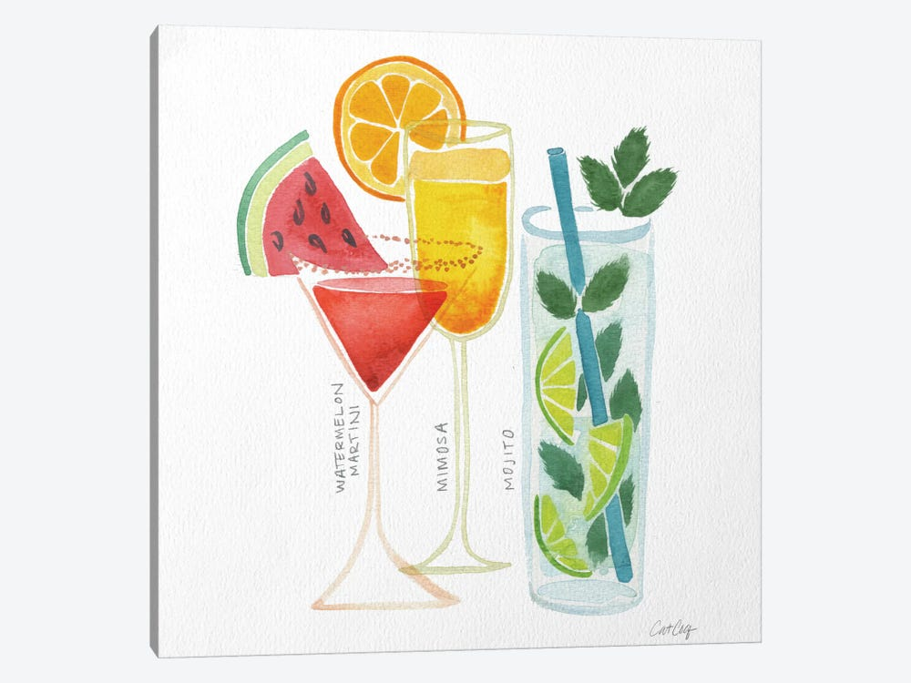 Summer Drinks Artprint by Cat Coquillette 1-piece Canvas Wall Art
