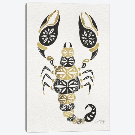 Gold Balck Scorpion Artprint Canvas Print #CCE193} by Cat Coquillette Canvas Art Print
