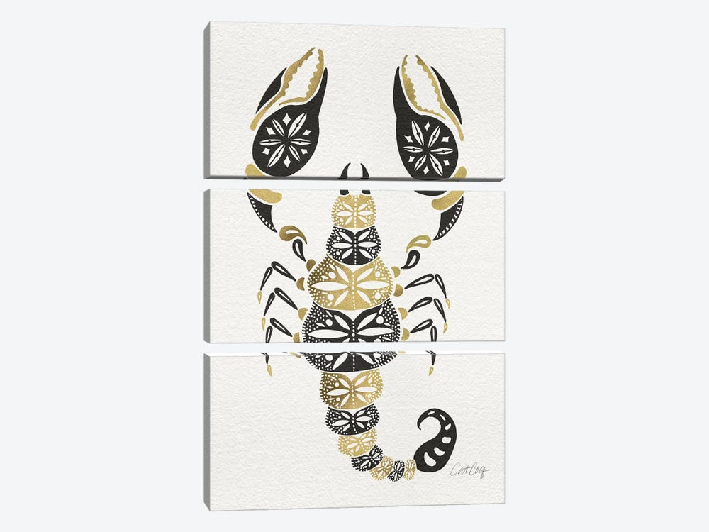 Gold Balck Scorpion by Cat Coquillette 3-piece Art Print