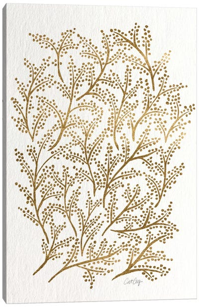 Gold Branches Artprint Canvas Print #CCE194