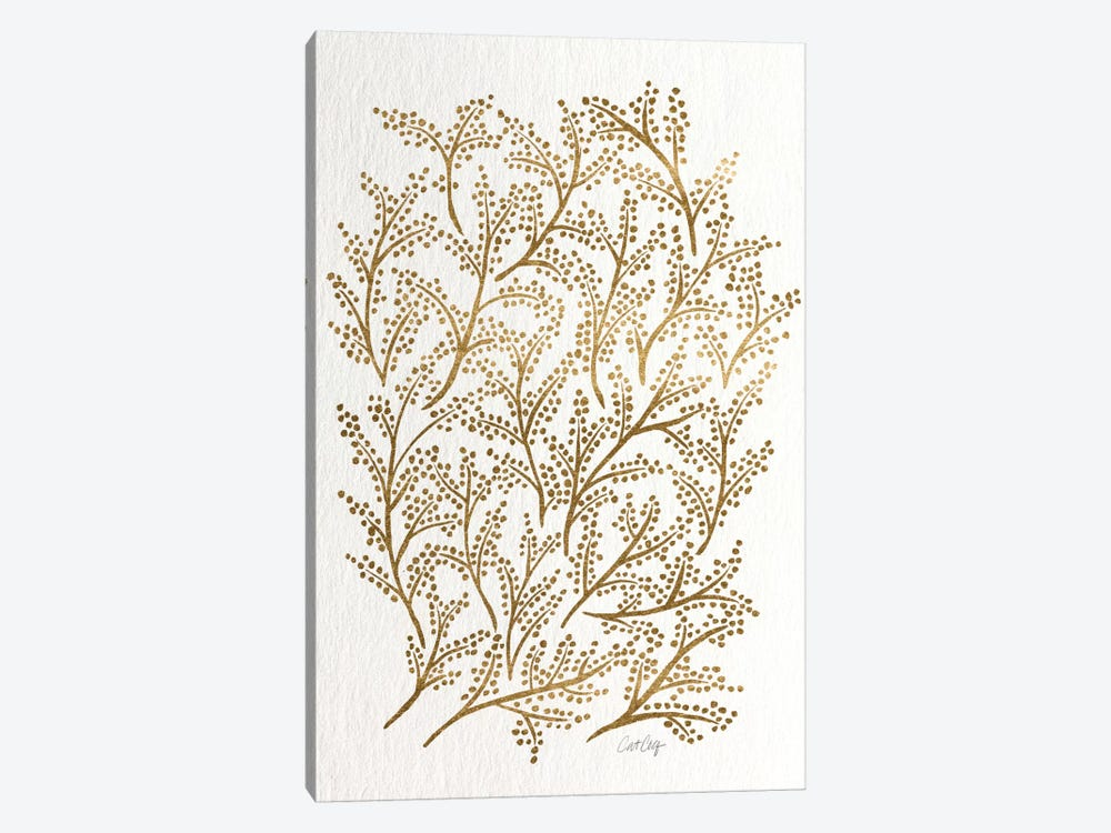 Gold Branches Artprint 1-piece Canvas Wall Art