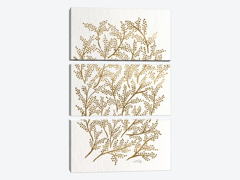 Gold Branches Artprint by Cat Coquillette 3-piece Canvas Artwork