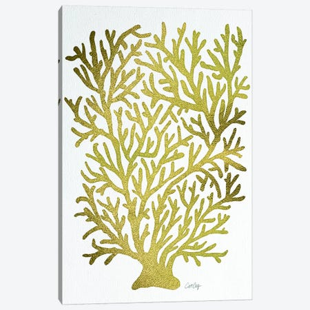 Gold Coral Artprint Canvas Print #CCE195} by Cat Coquillette Canvas Art