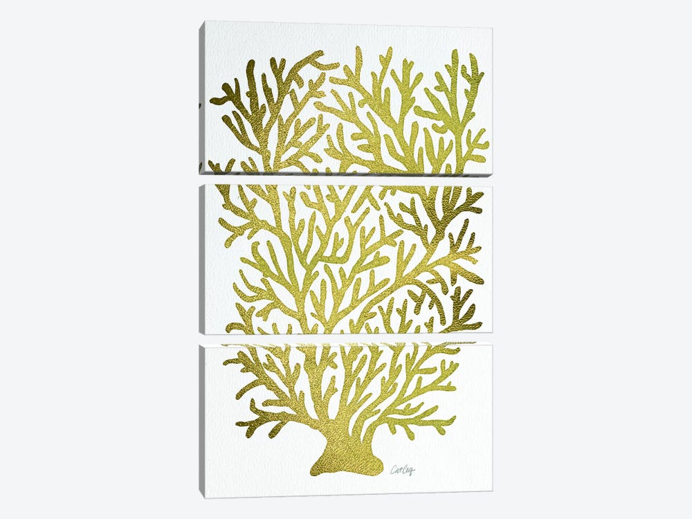 Gold Coral by Cat Coquillette 3-piece Canvas Art Print