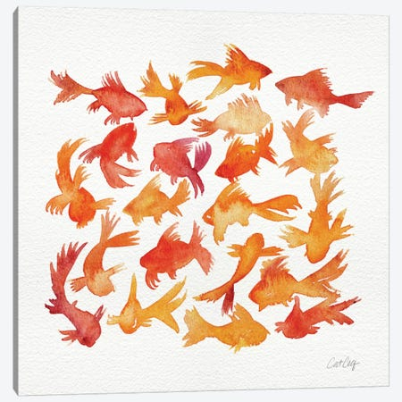 Goldfish Artprint Canvas Print #CCE196} by Cat Coquillette Canvas Art