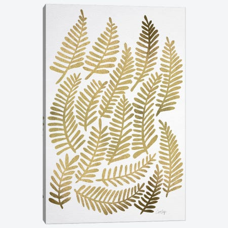 Gold Fronds Artprint Canvas Print #CCE197} by Cat Coquillette Canvas Wall Art