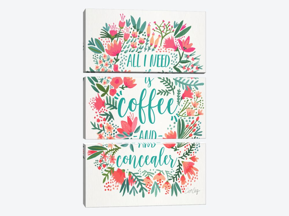 Coffee & Concealer I by Cat Coquillette 3-piece Canvas Print