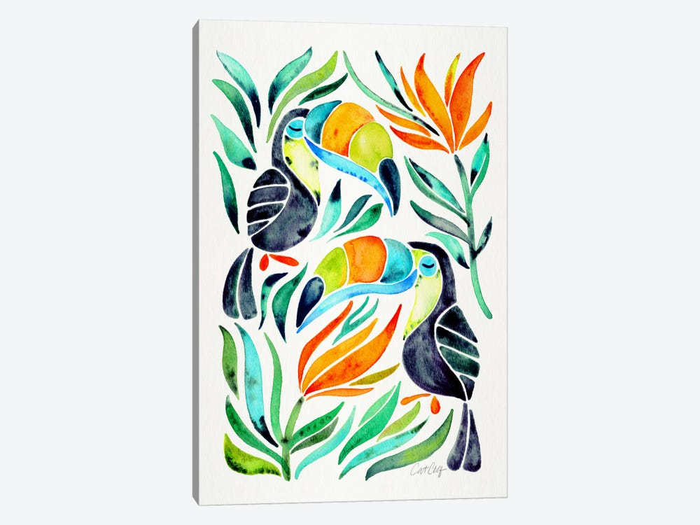 Colorful Toucans I by Cat Coquillette 1-piece Canvas Print