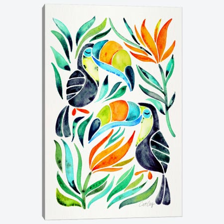 Colorful Toucans I Canvas Print #CCE204} by Cat Coquillette Canvas Wall Art