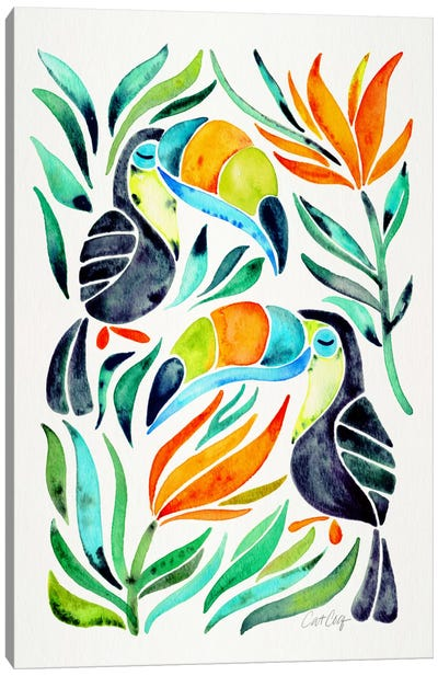 Colorful Toucans I by Cat Coquillette Canvas Art Print