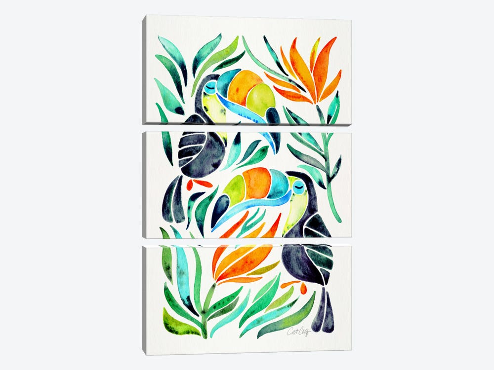 Colorful Toucans I by Cat Coquillette 3-piece Canvas Art Print