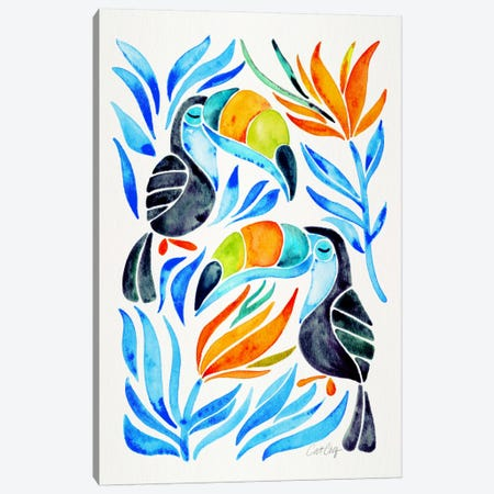 Colorful Toucans III Canvas Print #CCE206} by Cat Coquillette Canvas Wall Art