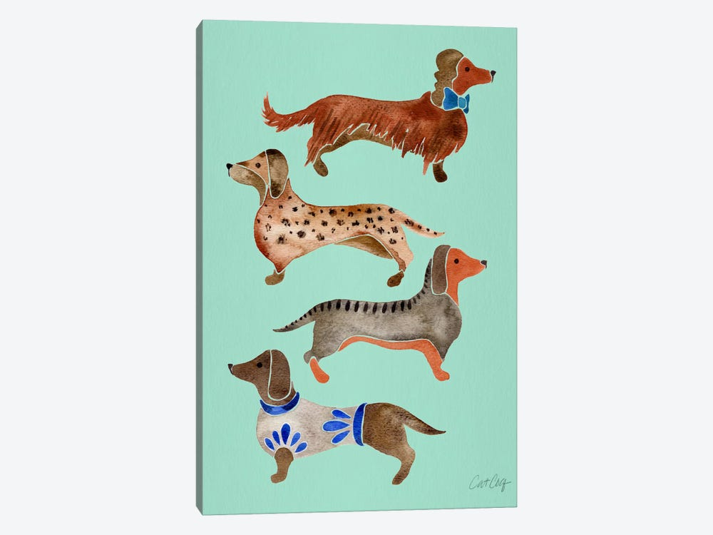 Dachshunds I by Cat Coquillette 1-piece Canvas Art