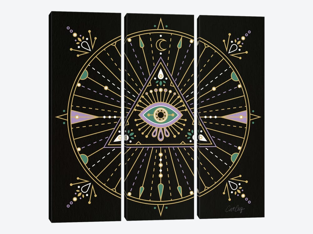 Evil Eye Mandala I by Cat Coquillette 3-piece Canvas Artwork